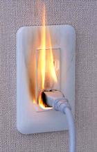 Tracking fire image that flame breaks out from plug inserted in outlet with wall