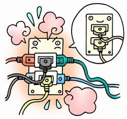Illustration which fire seems to produce from outlet with wall by octopus-like legs wiring